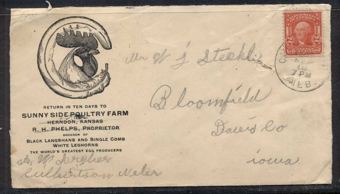 USA 1916 2c Washington Advertising Cover , Poultry Farm