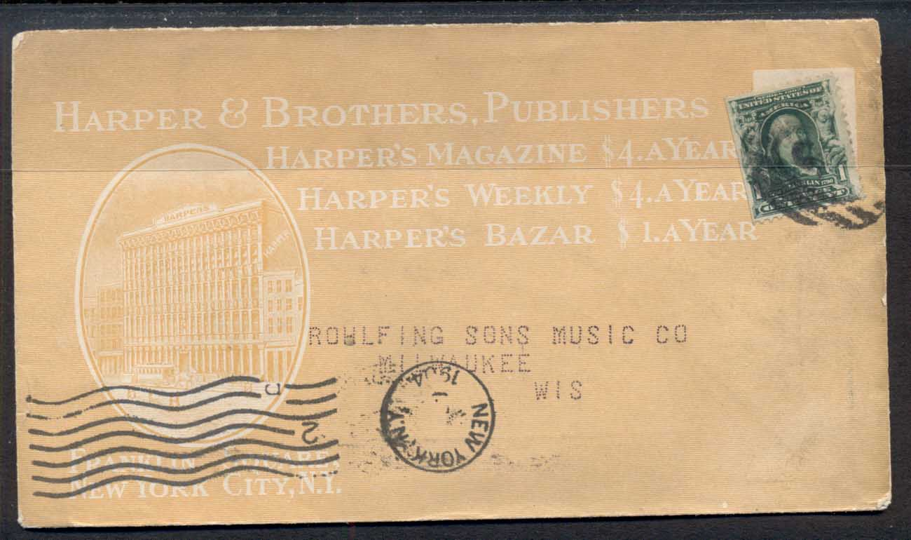 USA 1904 1c Washington Advertising Cover Harpers Magazine, Harpers Weekly