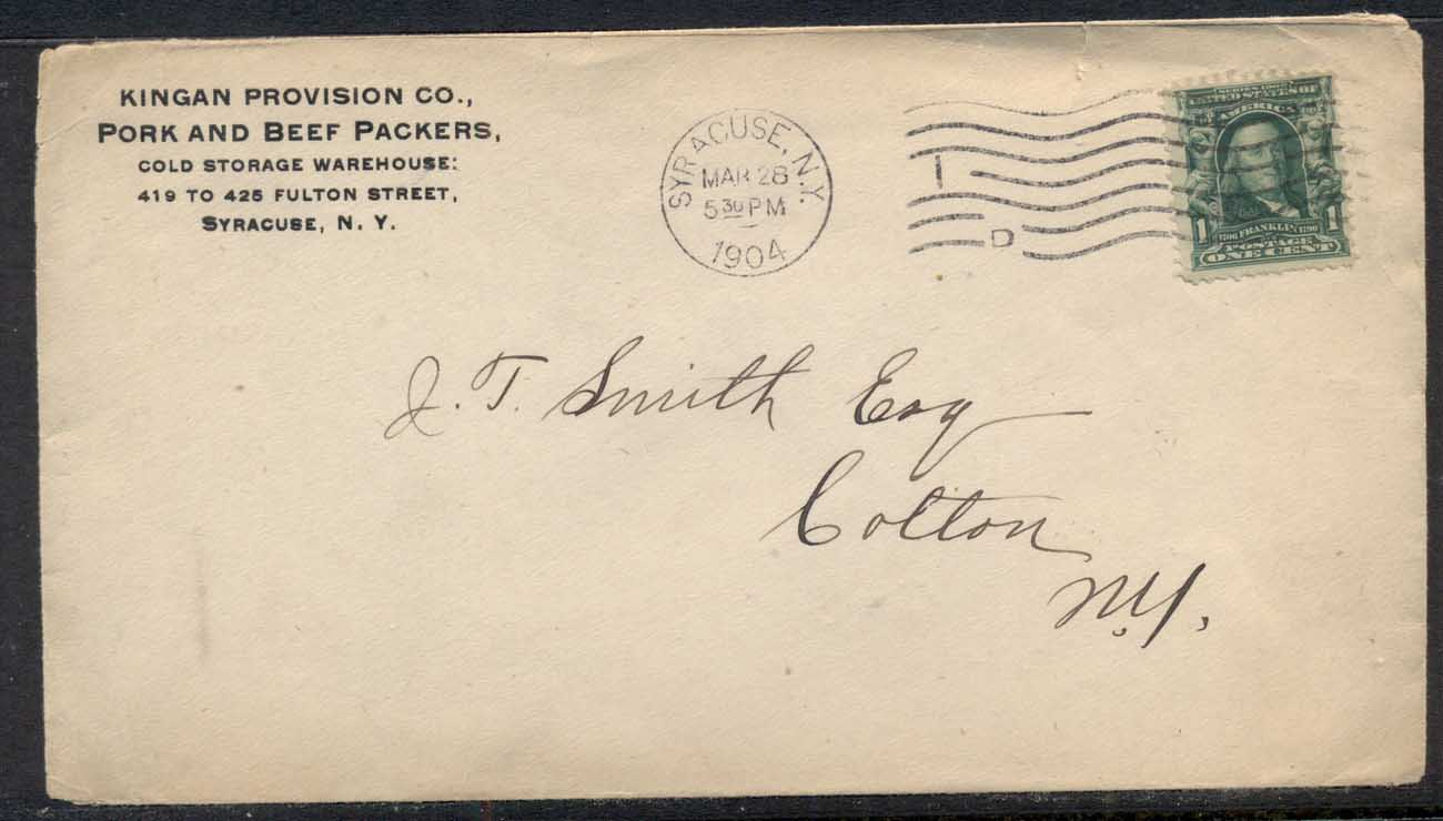 USA 1904 1c Washington CC cover, Pork & Beef Packers