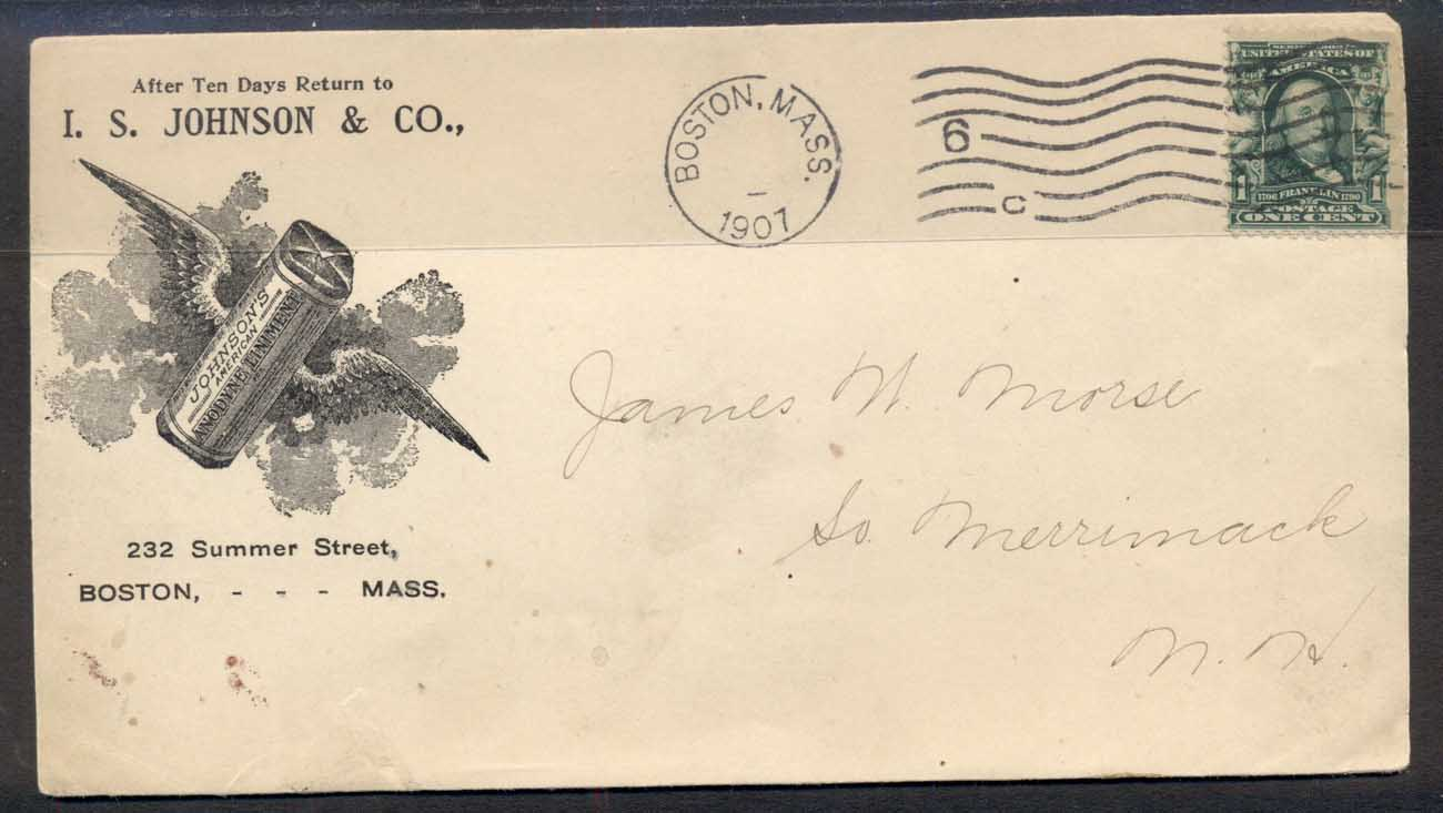 USA 1901 1c Franklin Advertising Cover Pharmacy