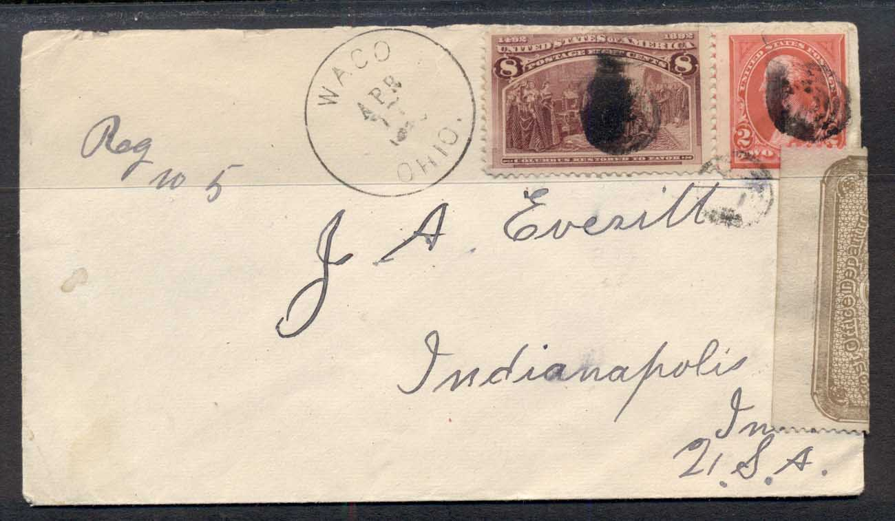 USA 1893 8c Columbian cover, Oficially Sealed