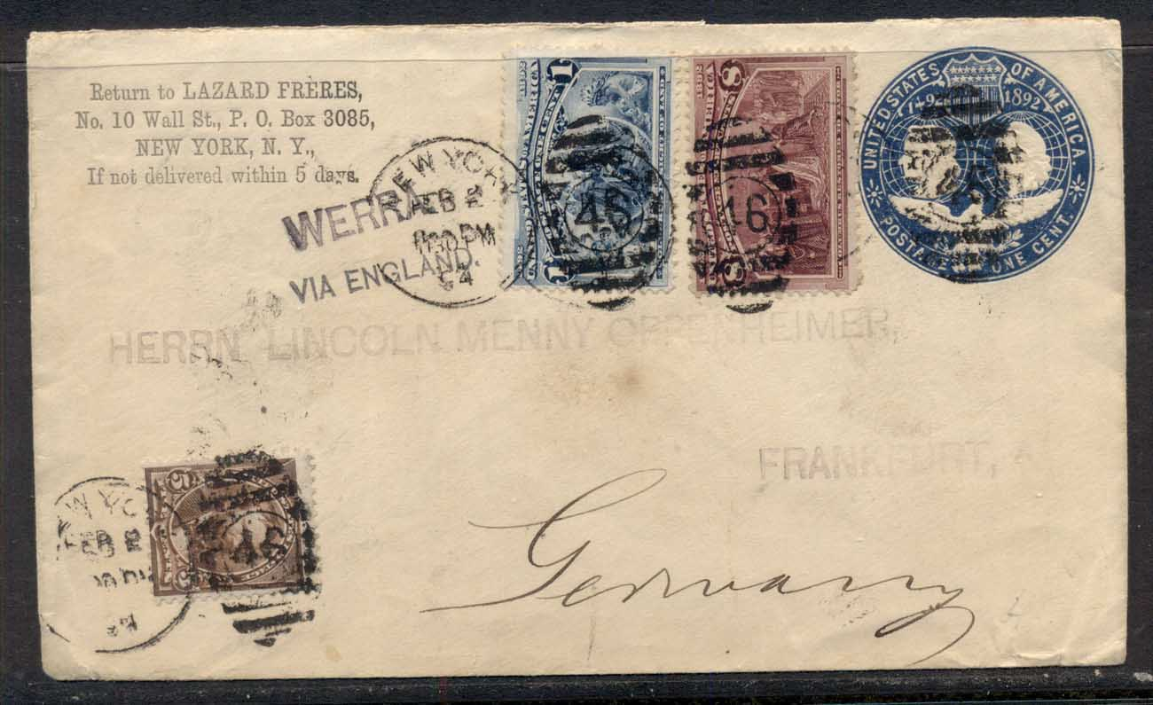 USA 1894 1c,8c Columbian uprated cover to Germany