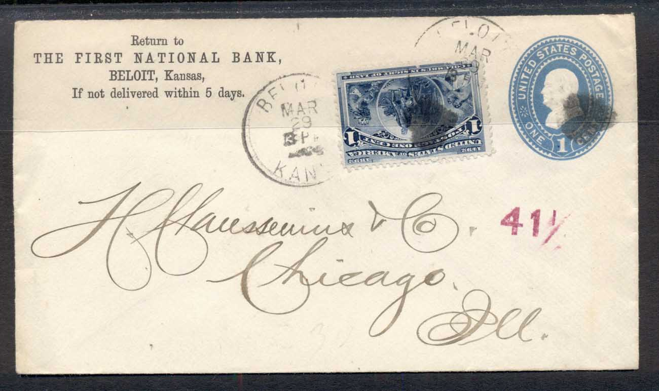 USA 1894 1c Columbian uprated cover to Chicago