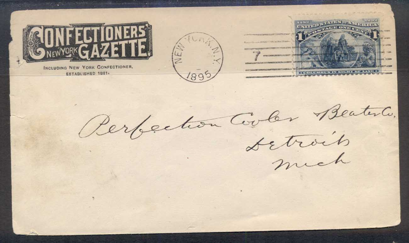 USA 1895 1c Columbian Advertising CC cover, Confectionery