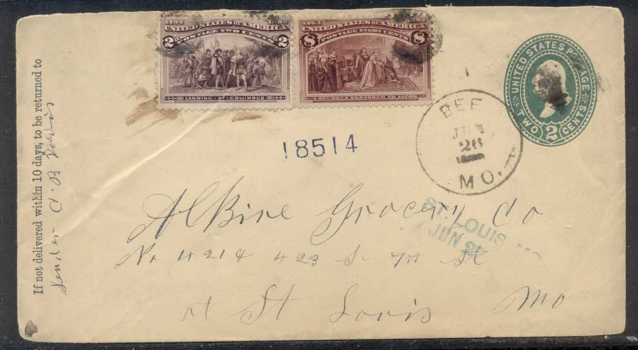 USA 1894 Uprated 2c, 8c Columbian cover to St Louis