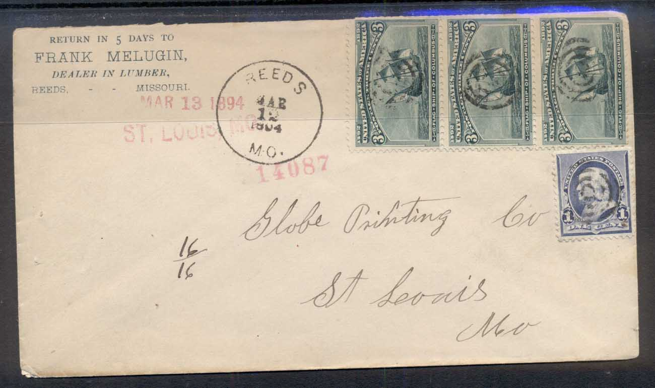 USA 1894 3x3c Columbian str cover to St Louis