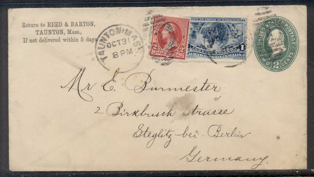 USA 1893 uprated 1c Columbian cover to Germany