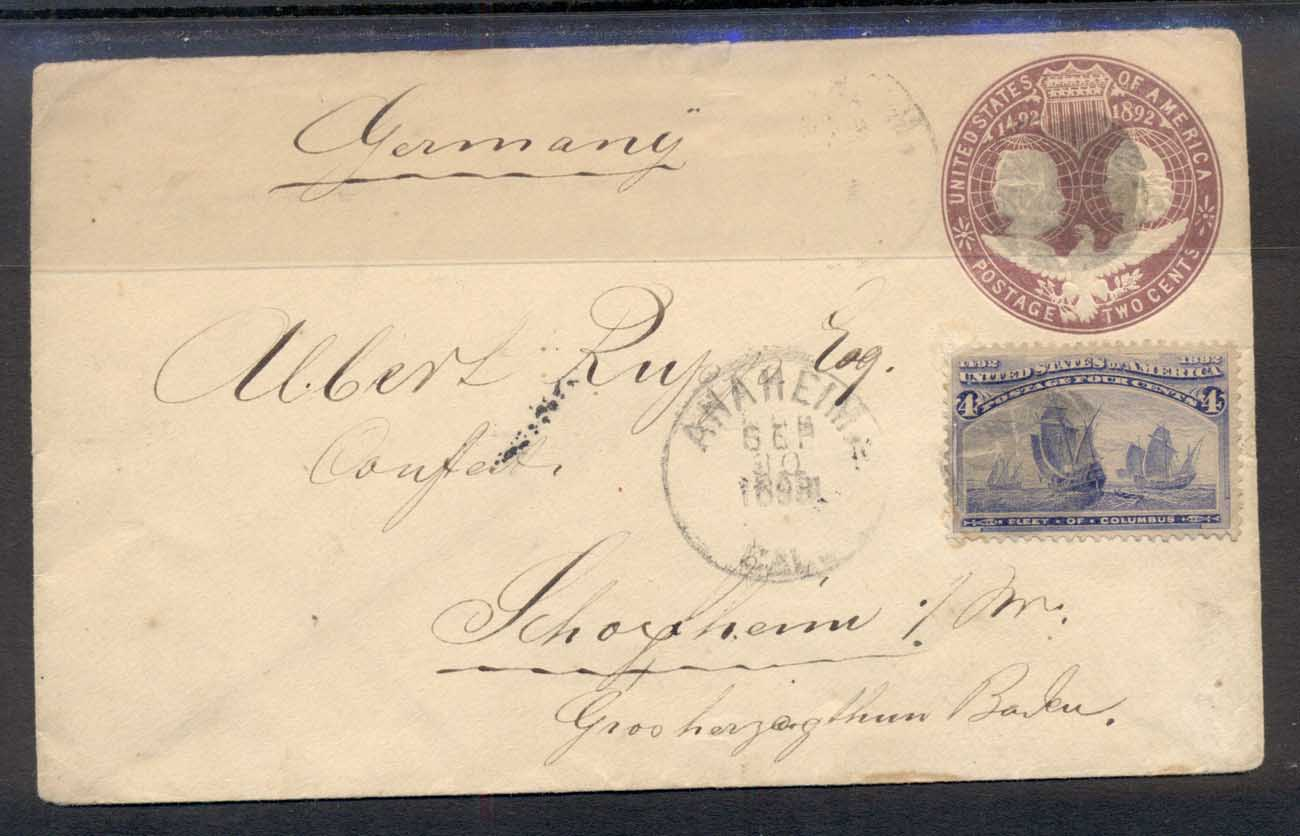 USA 1898 Uprated 4c Columbian cover to Germany