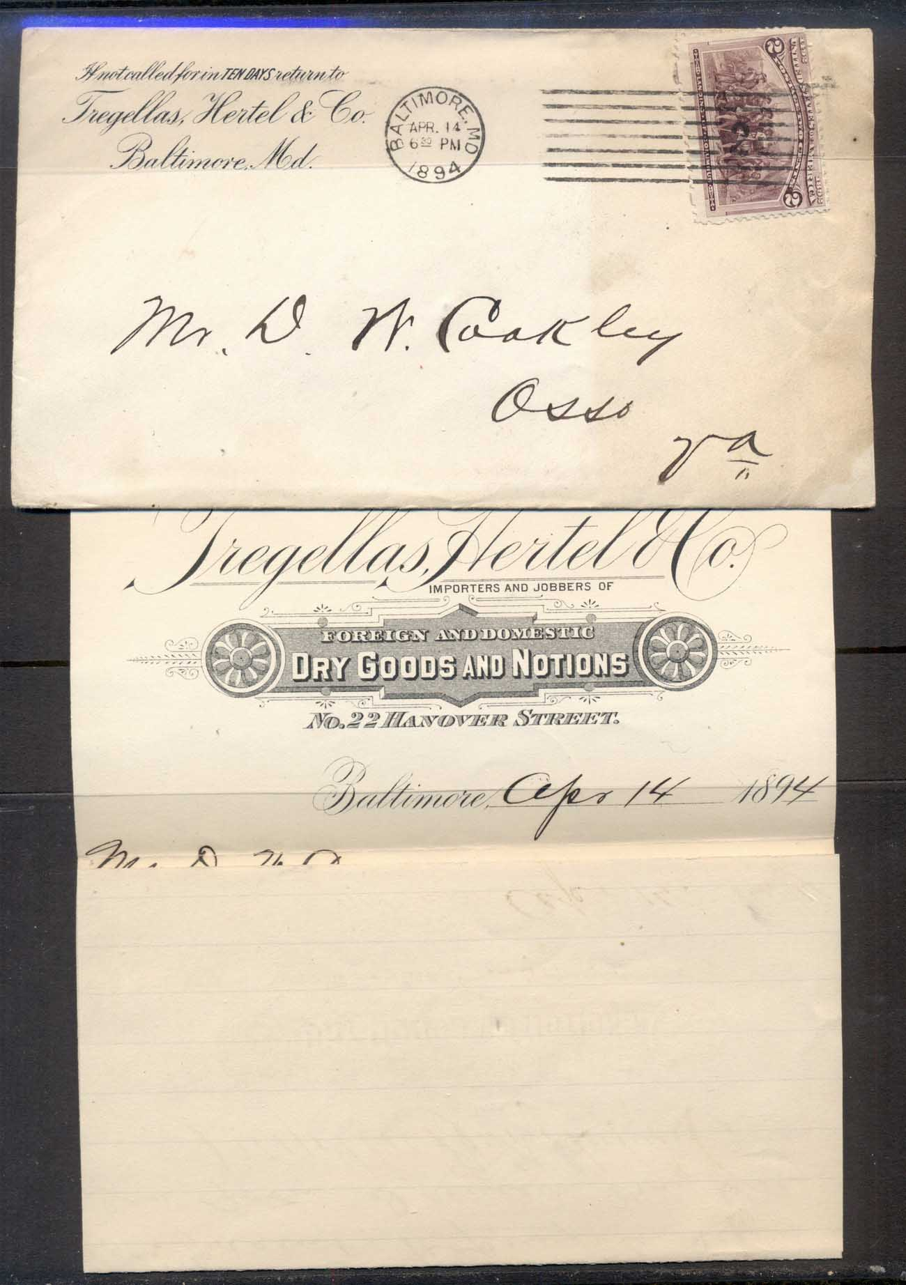 USA 1894 2c Columbian CC Cover with enclosure