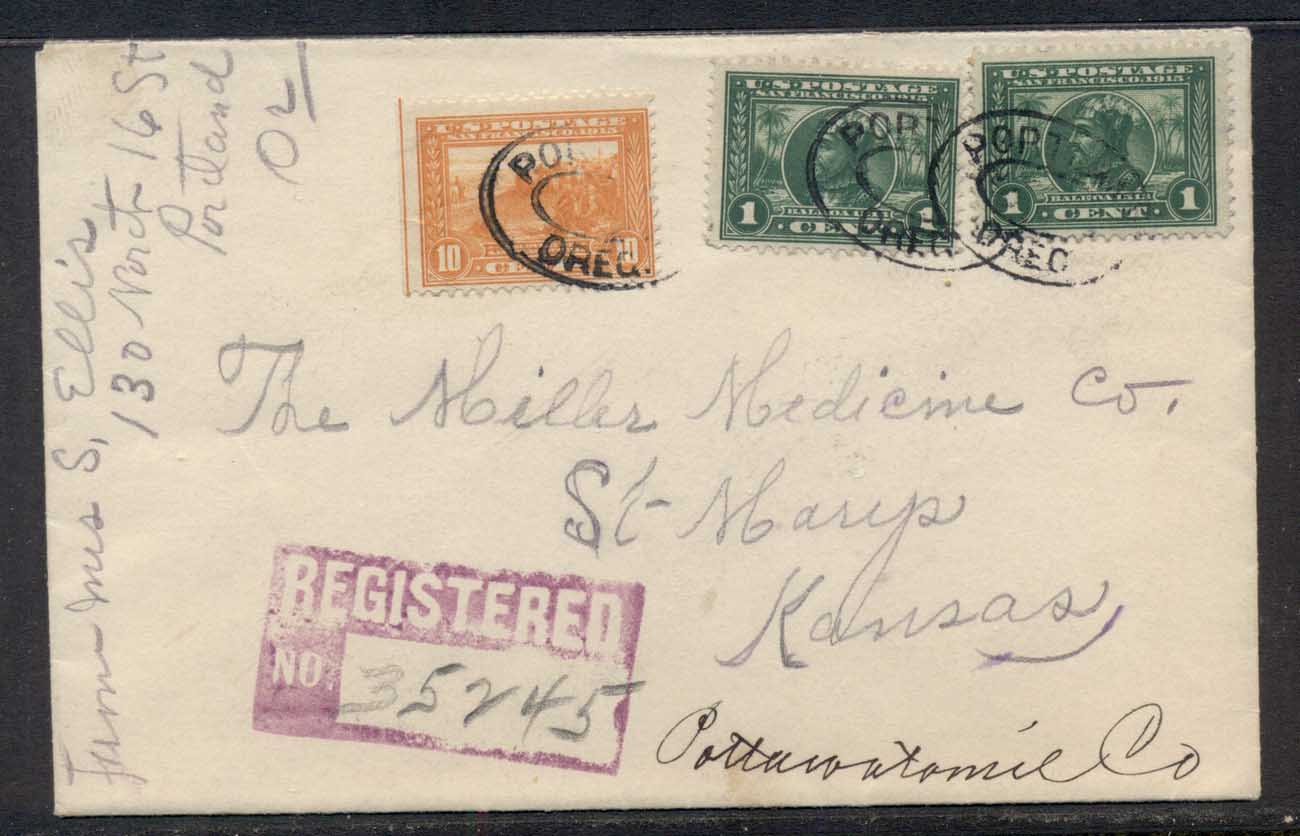 USA 1915 Panama Pacific 10c Registered Cover