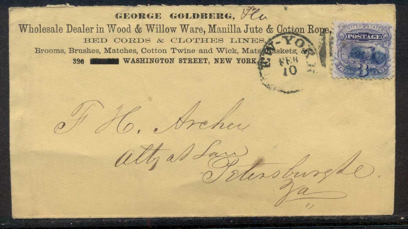 USA 1869 c. Pictorial 3c Locomotive cover, CC, Beds & Clothes lines Advertising