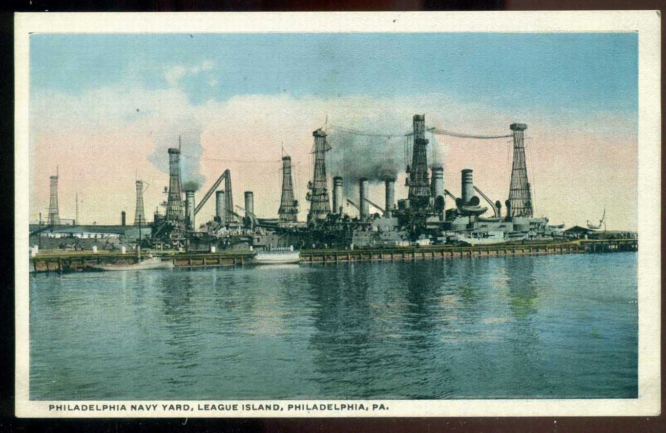 USA 1915c Philadelphia Navy Yard, League Island, Philadelphia, colored photo, unused