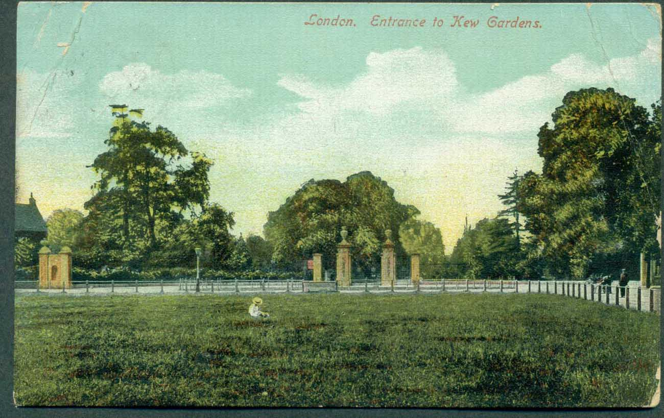 GB 1914 London, Entrance to Kew Gardens, hand colored photo, used Millesden SDNW to Wales