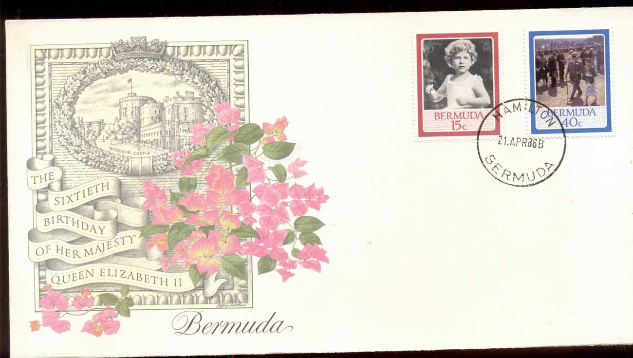 Bermuda 1986 QEII 60th Birthday 2v Fleetwood FDC
