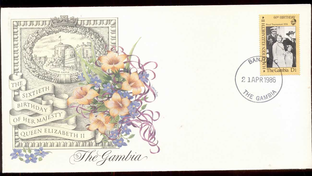 Gambia 1986 QEII 60th Birthday 1v Fleetwood FDC