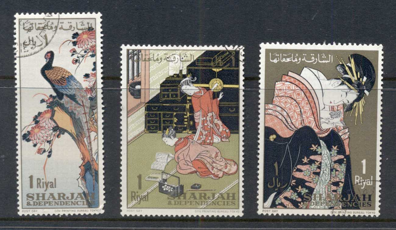 Sharjah 1967 Mi#350-352 Post Day, Japanese Art CTO