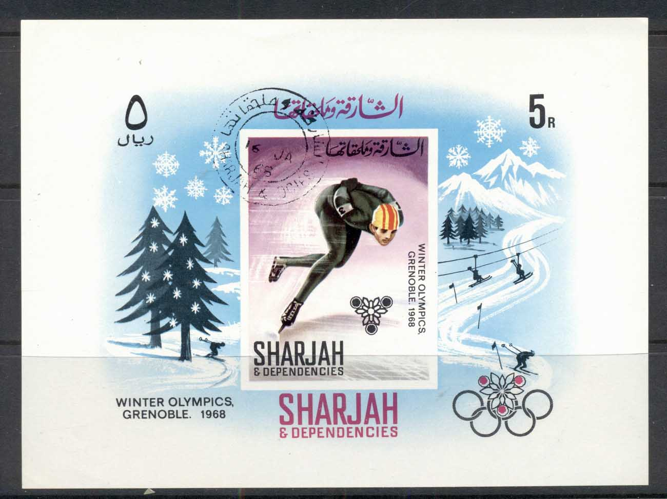 Sharjah 1967 Mi#MS31 Winter Olympics Grenoble MS CTO