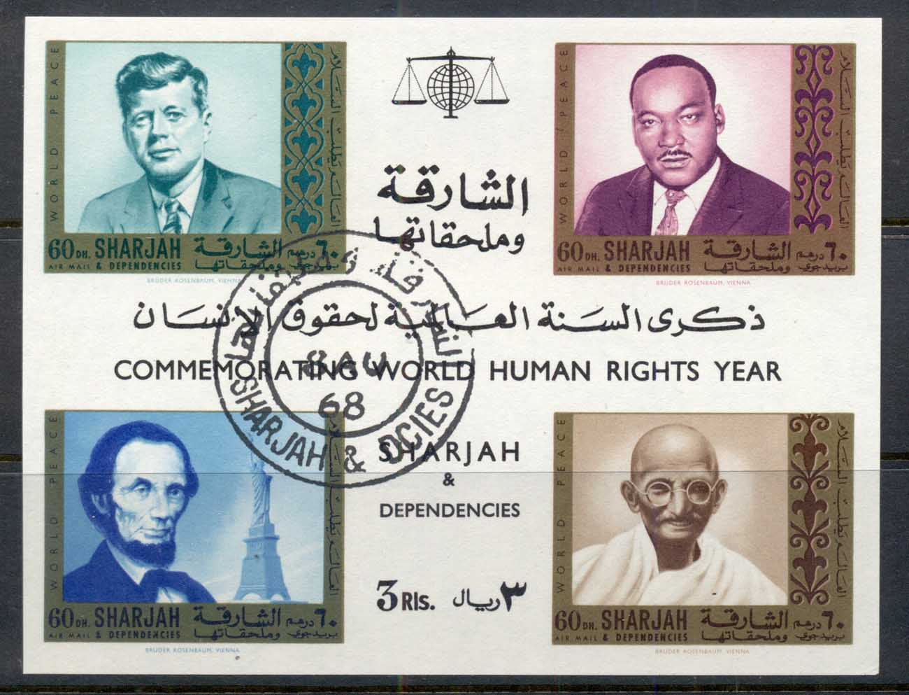 Sharjah 1968 Mi#MS39 Martyrs for Liberty, World Peace, Kennedy, King, Ghandi, Lincoln MS CTO