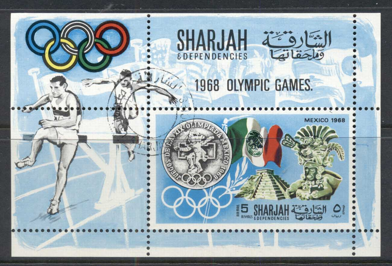 Sharjah 1968 Mi#MS41A History of the Olympic Games MS CTO