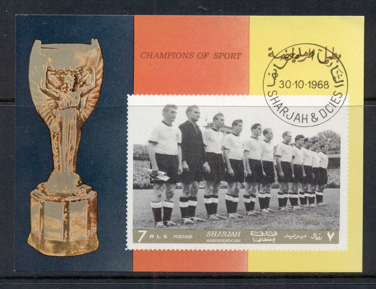 Sharjah 1968 Mi#MS42B Football Players MS IMPERF CTO