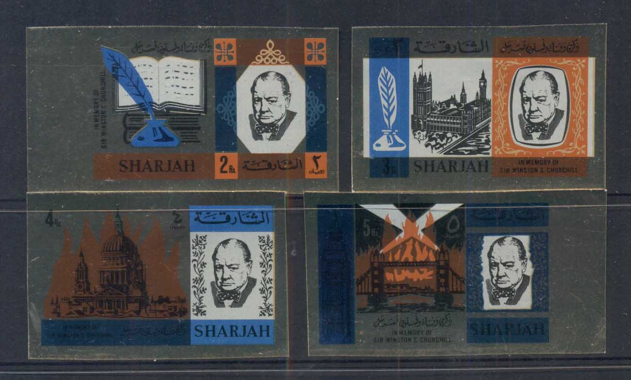 Sharjah 1966 Mi#221-224B Winston Churchill, gloss finish IMPERF MLH