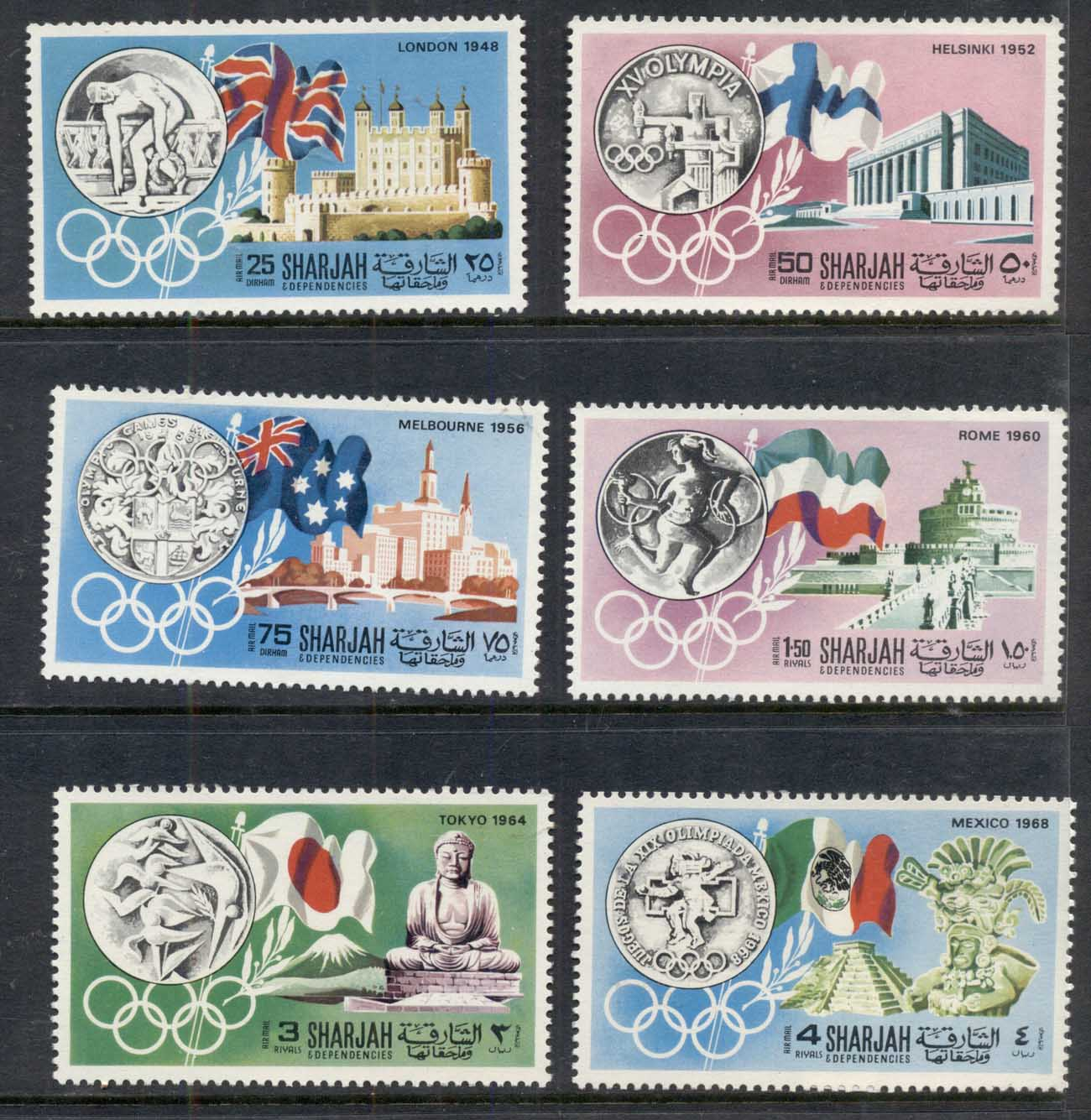 Sharjah 1968 Mi#496-501 History of the Olympic Games MUH