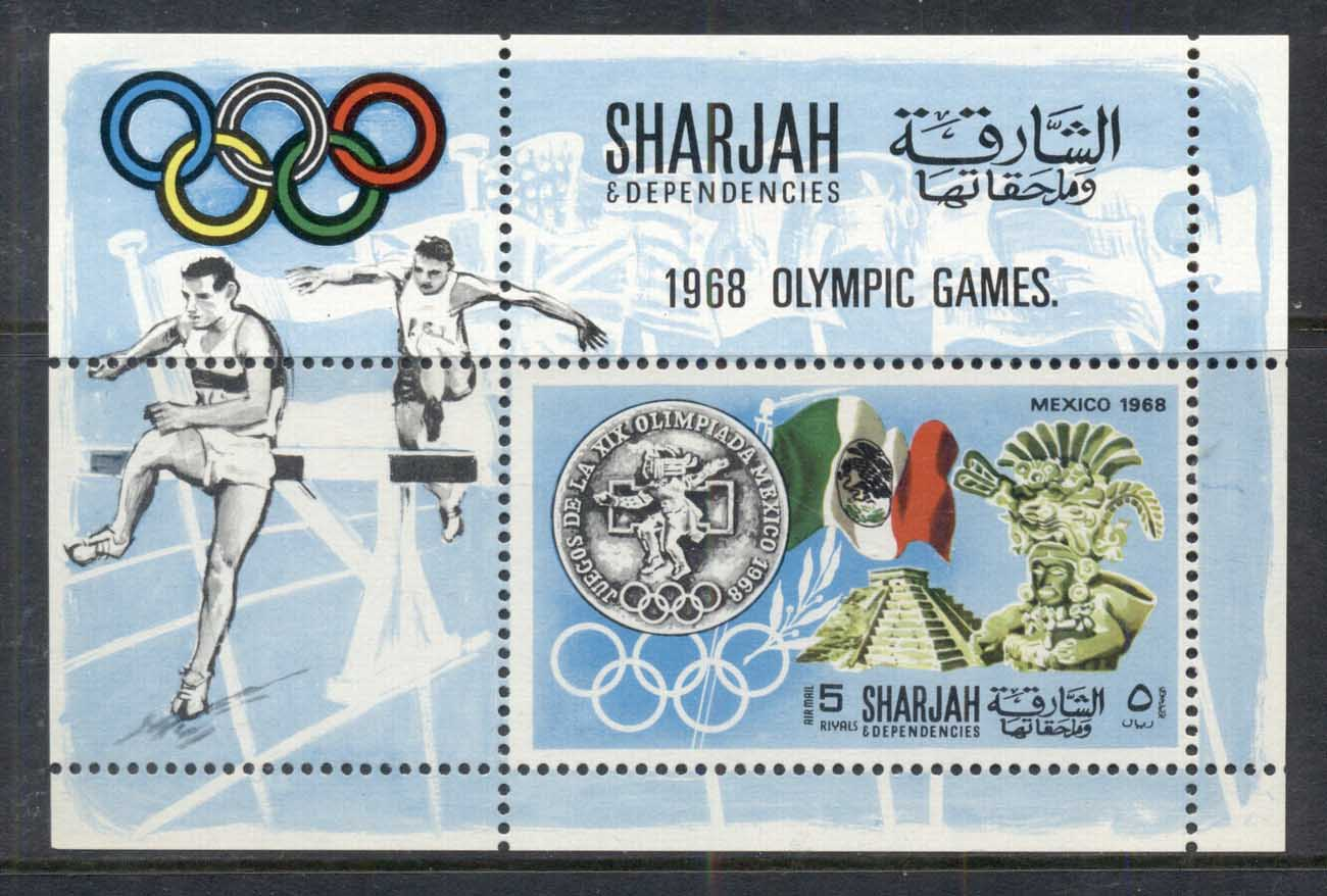 Sharjah 1968 Mi#MS41A History of the Olympic Games MS MUH