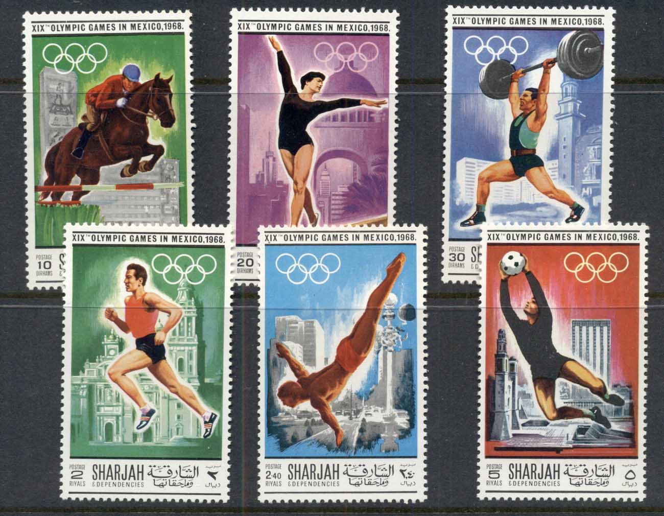 Sharjah 1968 Mi#489-494 Summer Olympics Mexico City MUH