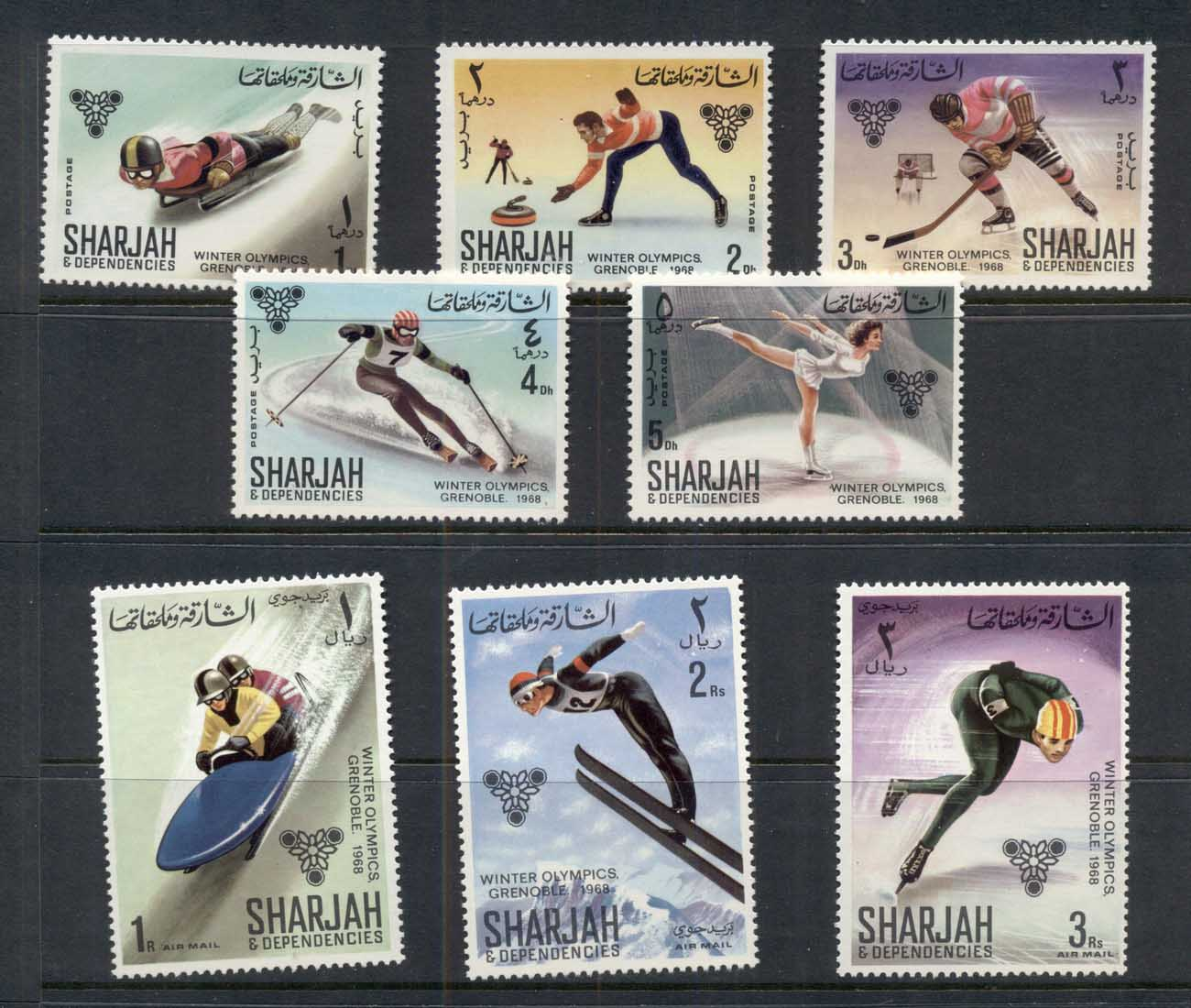 Sharjah 1968 Mi#400-407 Winter Olympics Grenoble MUH