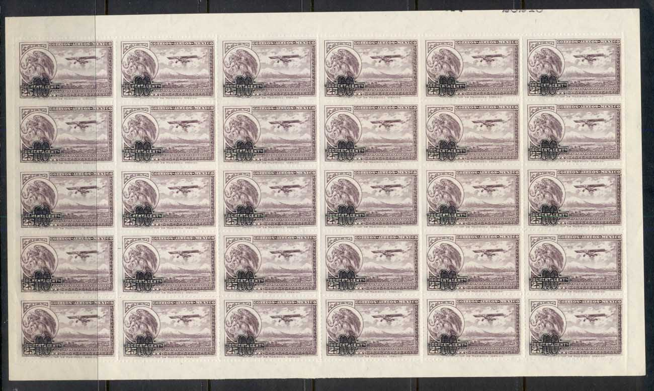 Mexico 1932 Airmail 80c on 25c surch sheet MUH