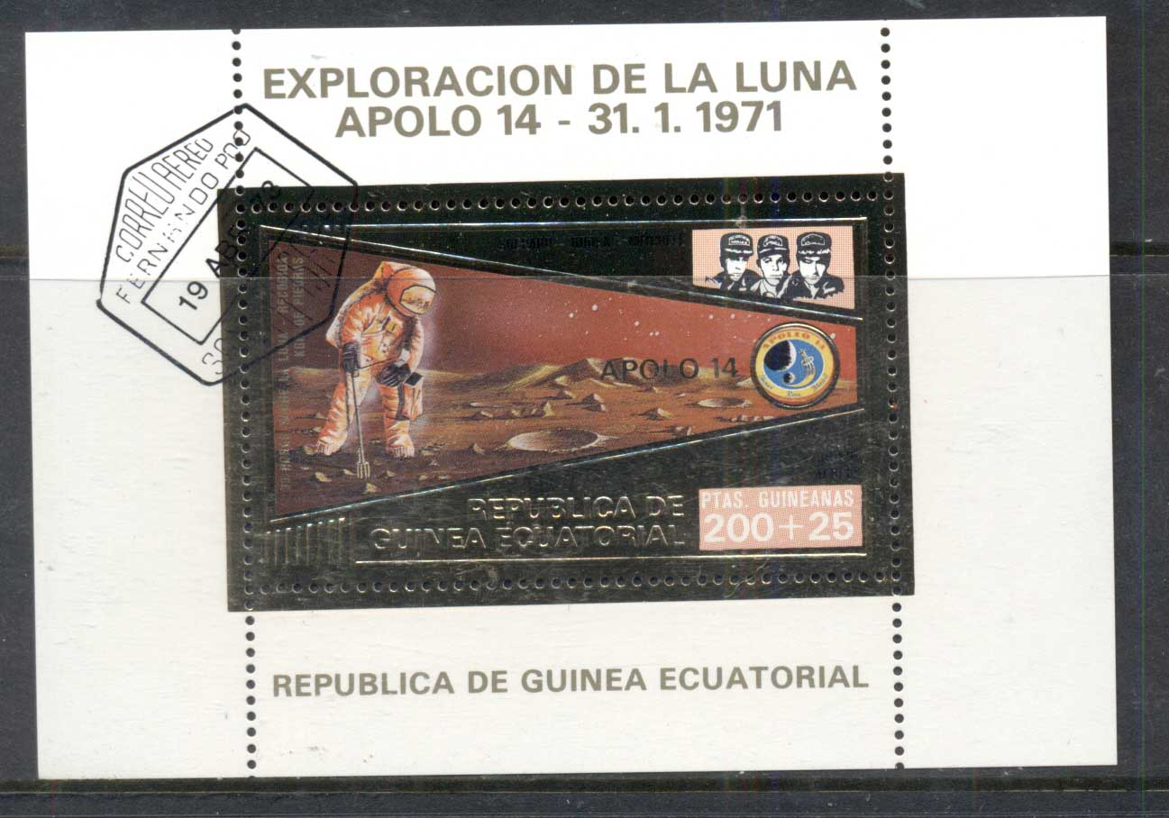 Equatorial Guinea 1971 Moon Exploration gold foil embossed MS CTO