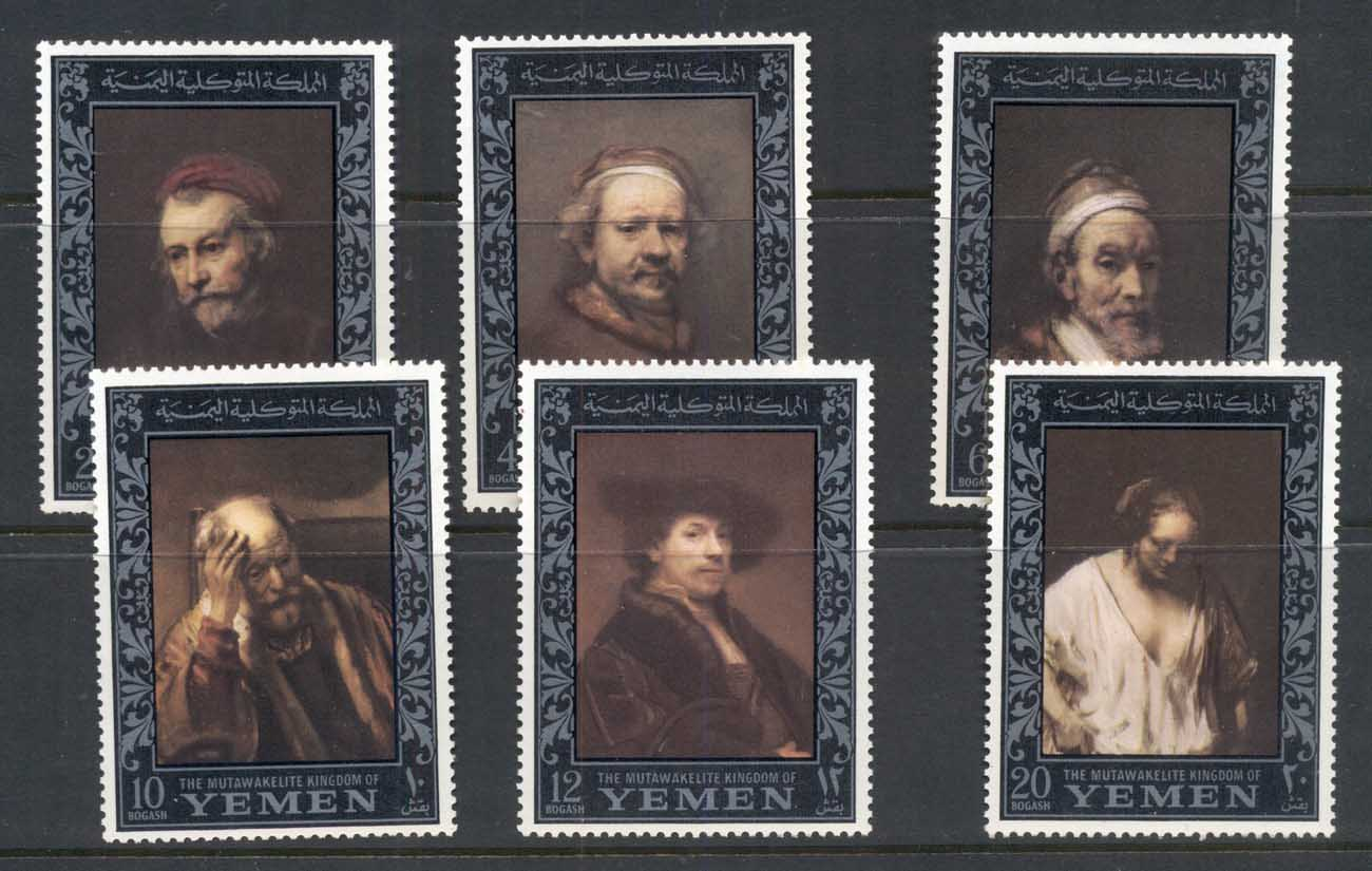 Yemen Kingdom 1967 Mi#284-289 Paintings by Rembrandt, Amphilex Stamp Ex, silver border MUH