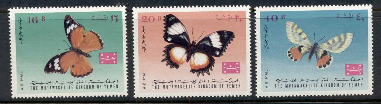 Yemen Kingdom 1968 Mi#448-450 Insects, Butterflies MUH