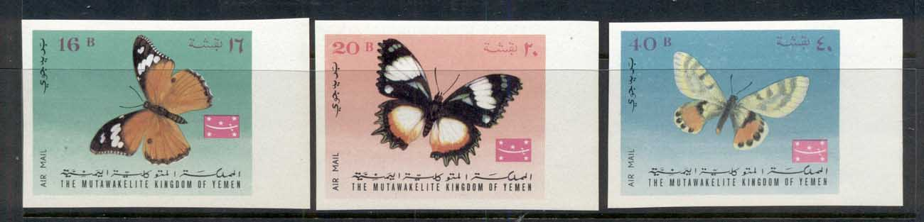Yemen Kingdom 1968 Mi#448-450B Insects, Butterflies IMPERF MUH