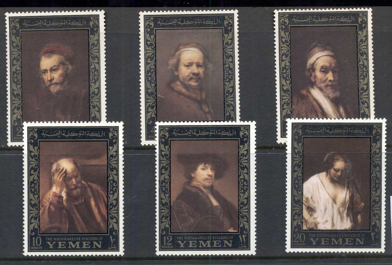 Yemen Kingdom 1967 Mi#278-283 Rembrandt Paintings, Amphilex Stamp Ex, gold borders MUH