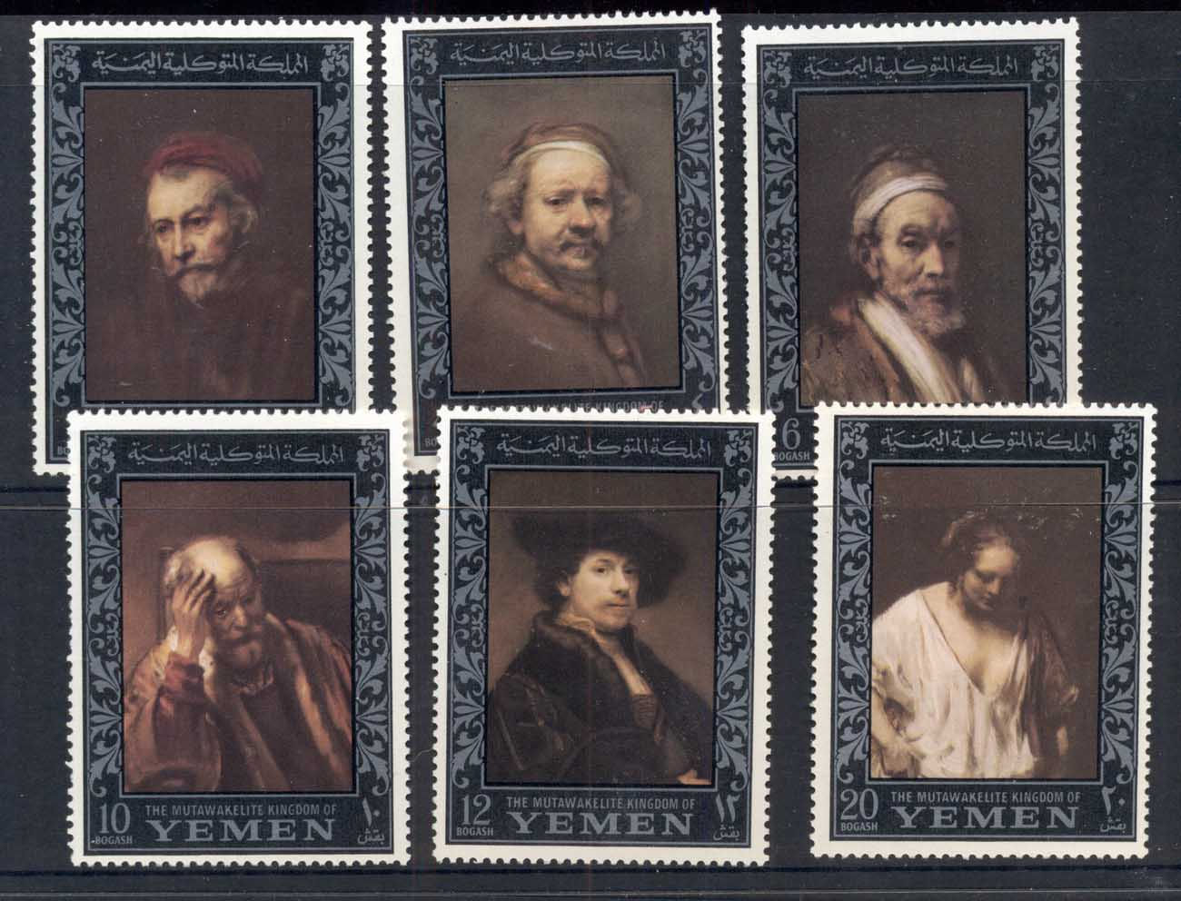 Yemen Kingdom 1967 Mi#278-283 Rembrandt Paintings, Amphilex Stamp Ex, silver borders MUH