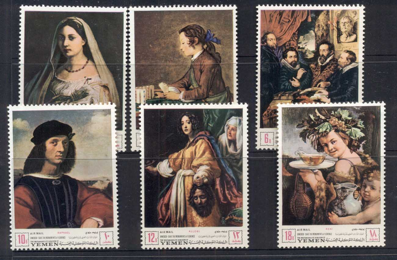 Yemen Kingdom 1968 Mi#503-508 UNESCO Campaign to save Florentine Works of Art MUH