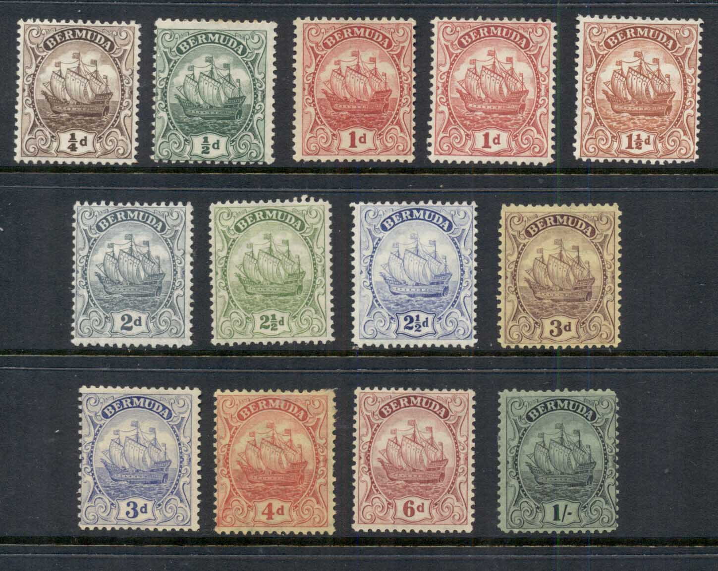 Bermuda 19222-34 Ship, Caravel Wmk. Multiple Crown & Script asst to 1/- MLH