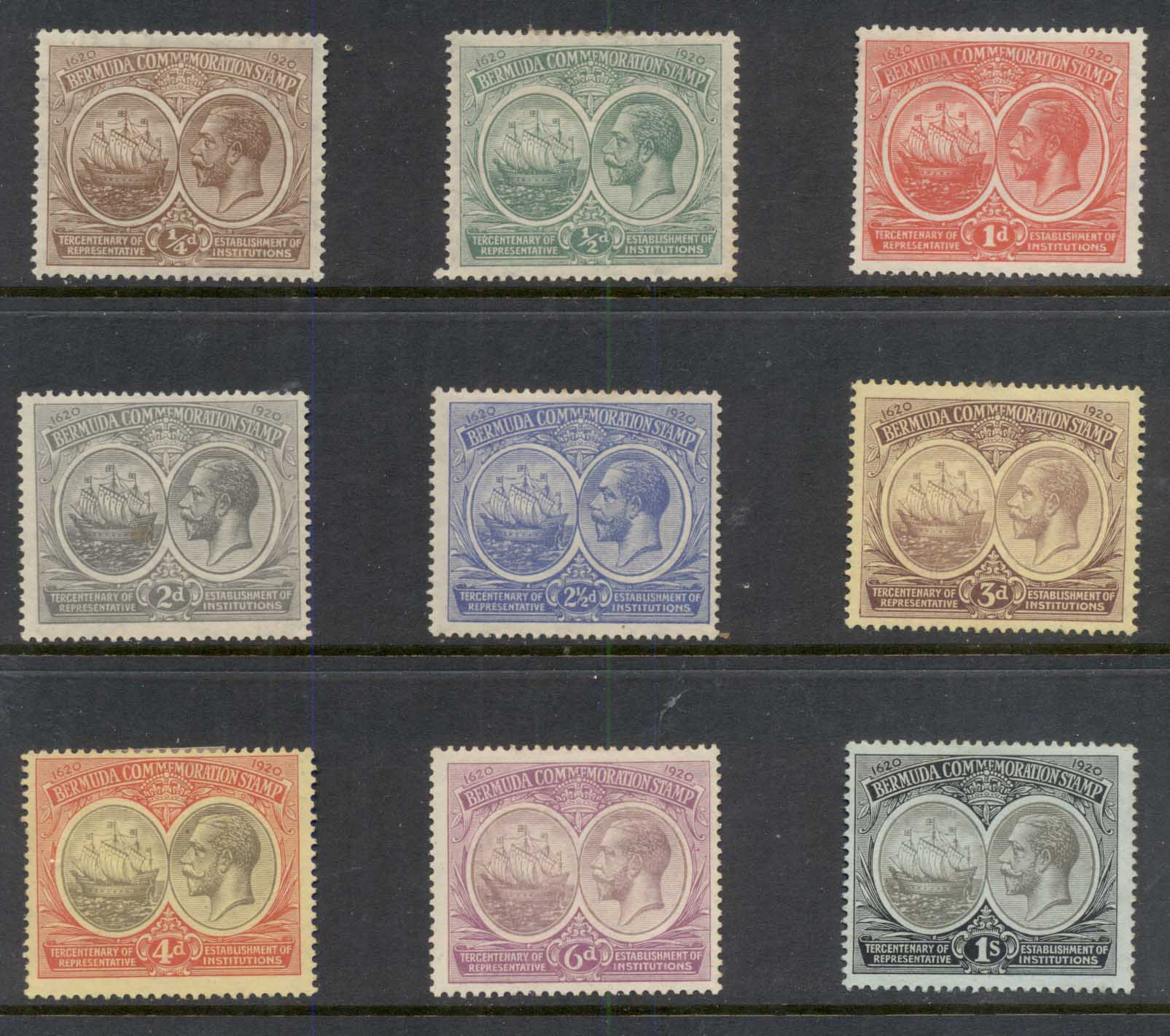 Bermuda 1920-1921 Tercentenary of Local Representative Institutions (light tones) MLH