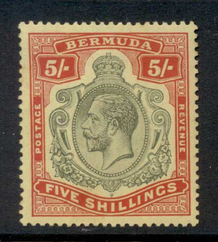Bermuda 1910-1925 5/- Red & green on yellow KGV Head Wmk Crown CA (tones) MLH