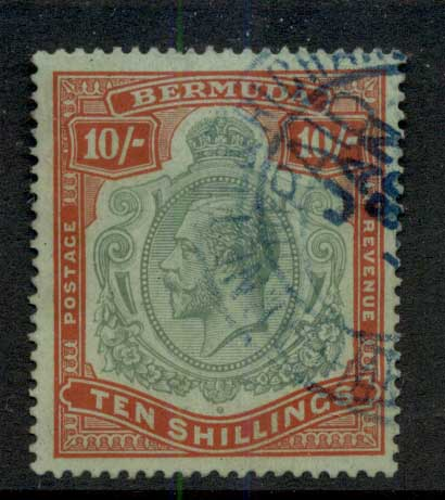 Bermuda 1910-1925 10/- Red & green on green KGV Head Wmk Crown CA Fisc Used
