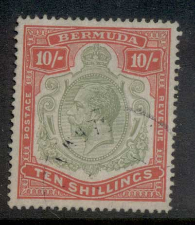 Bermuda 1910-1925 10/- Red & green on green KGV Head Wmk Crown CA Cleaned Fisc Used