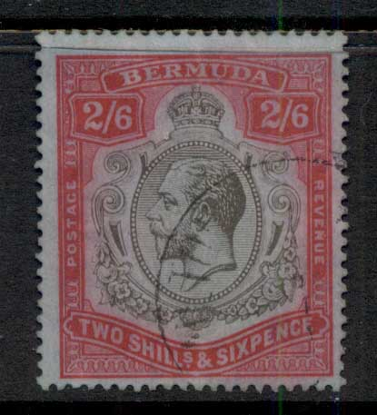 Bermuda 1910-1925 2/6d red & black on blue KGV Head Wmk Crown CA (colour runs) FU
