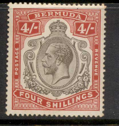 Bermuda 1910-1925 4/- carmine & black KGV Head Wmk Crown CA (tones) MLH