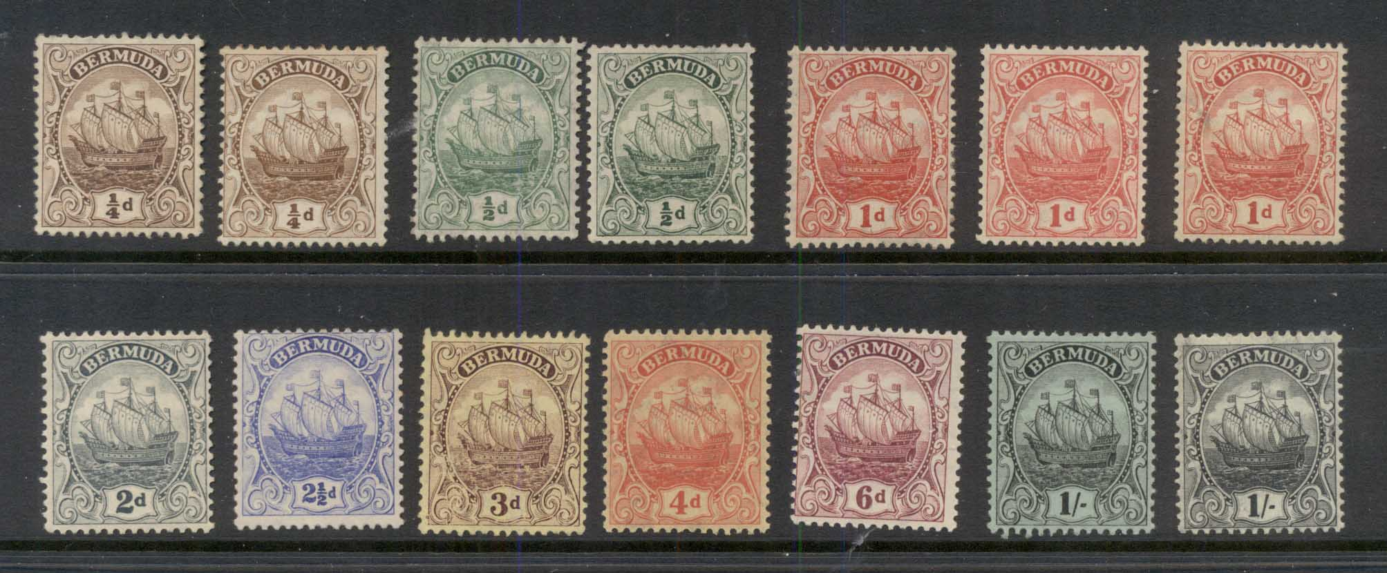 Bermuda 1910-25 Ship, Carvel Wmk. Multiple Crown CA Asst plus shades to 1/- most fine, some MNG, MLH