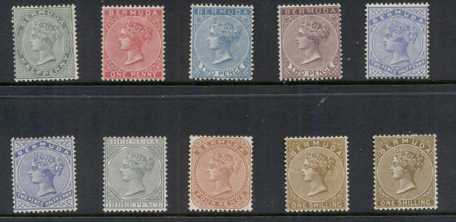 Bermuda 1883-1904 QV Portrait Atts to 1/- inc shades Wmk Crown CA MLH