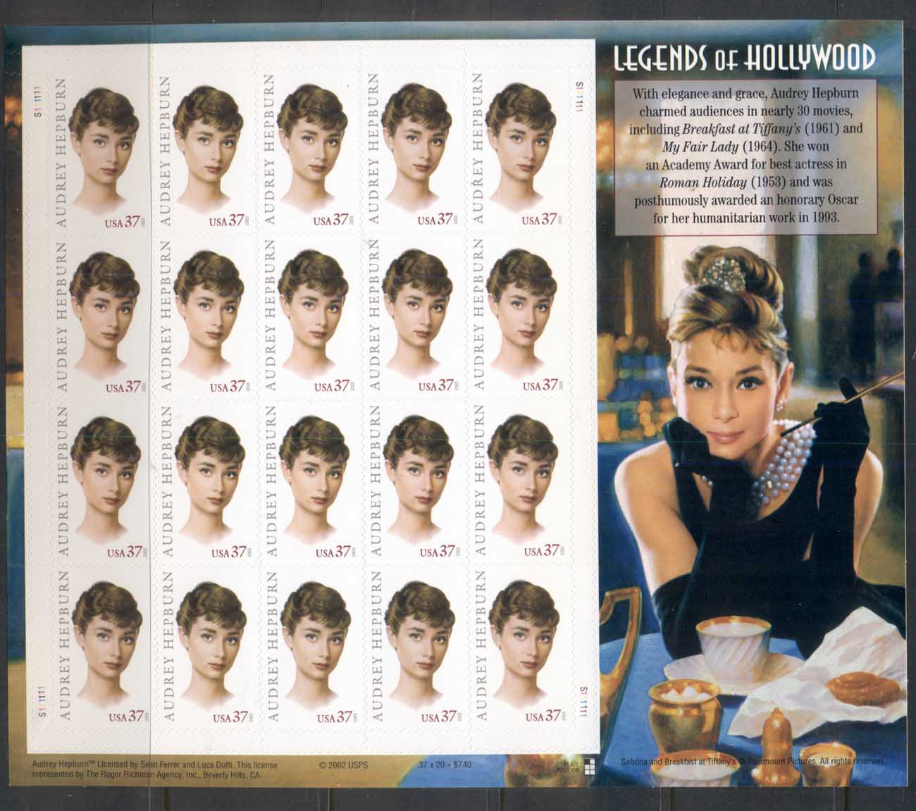 USA 2003 Sc#3786 Legends of Hollywood, Audrey Hepburn Pane 20 MUH