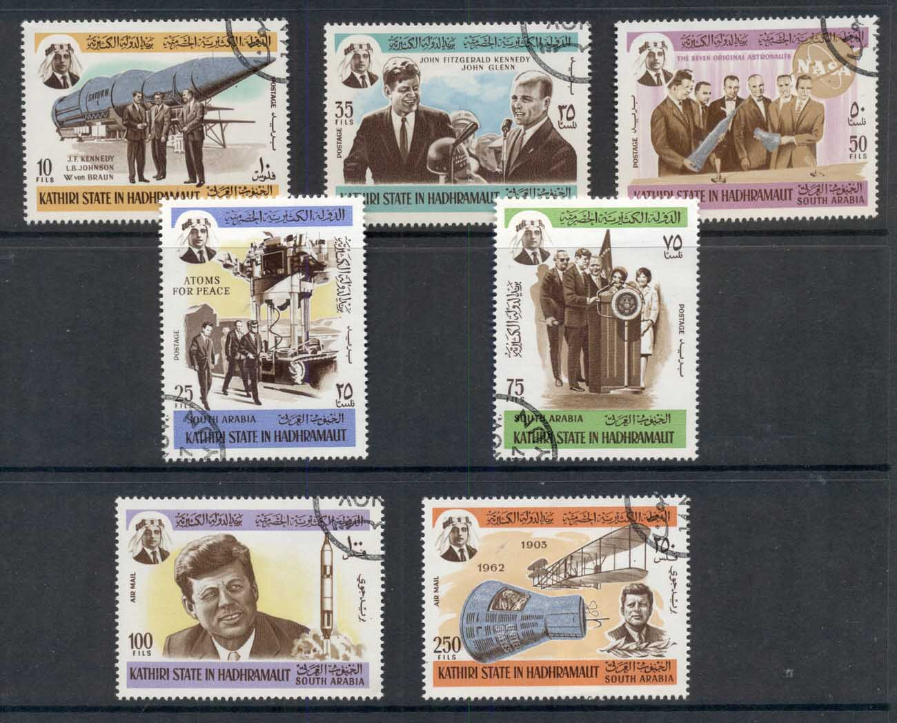 Aden Kathiri State in Hadramaut 1967 Mi#166-172 JFK Kennedy & Space Research CTO