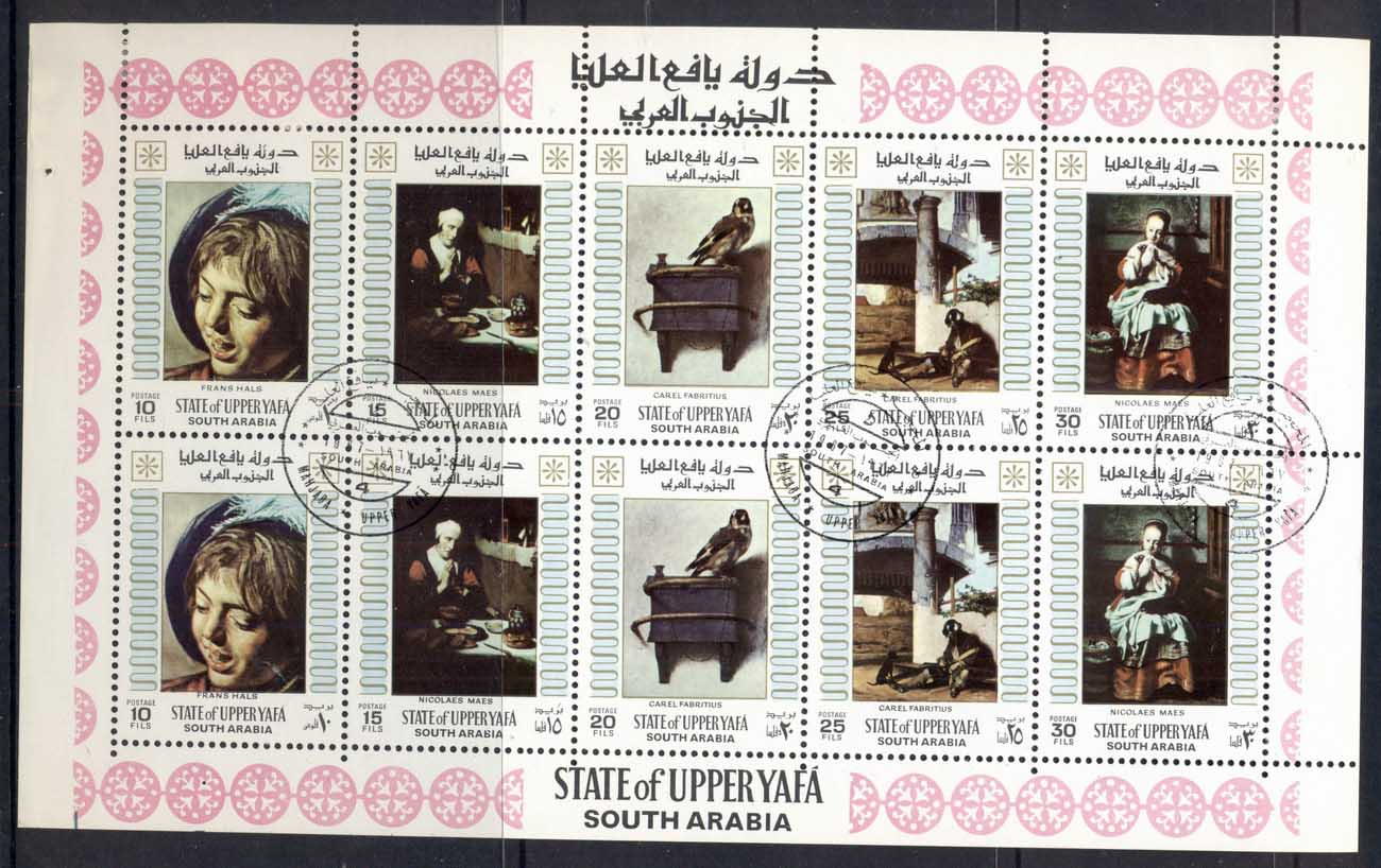 Aden State of Upper Yaffa 1967 Mi#33-37 Paintings by Old Masters sheetlet CTO