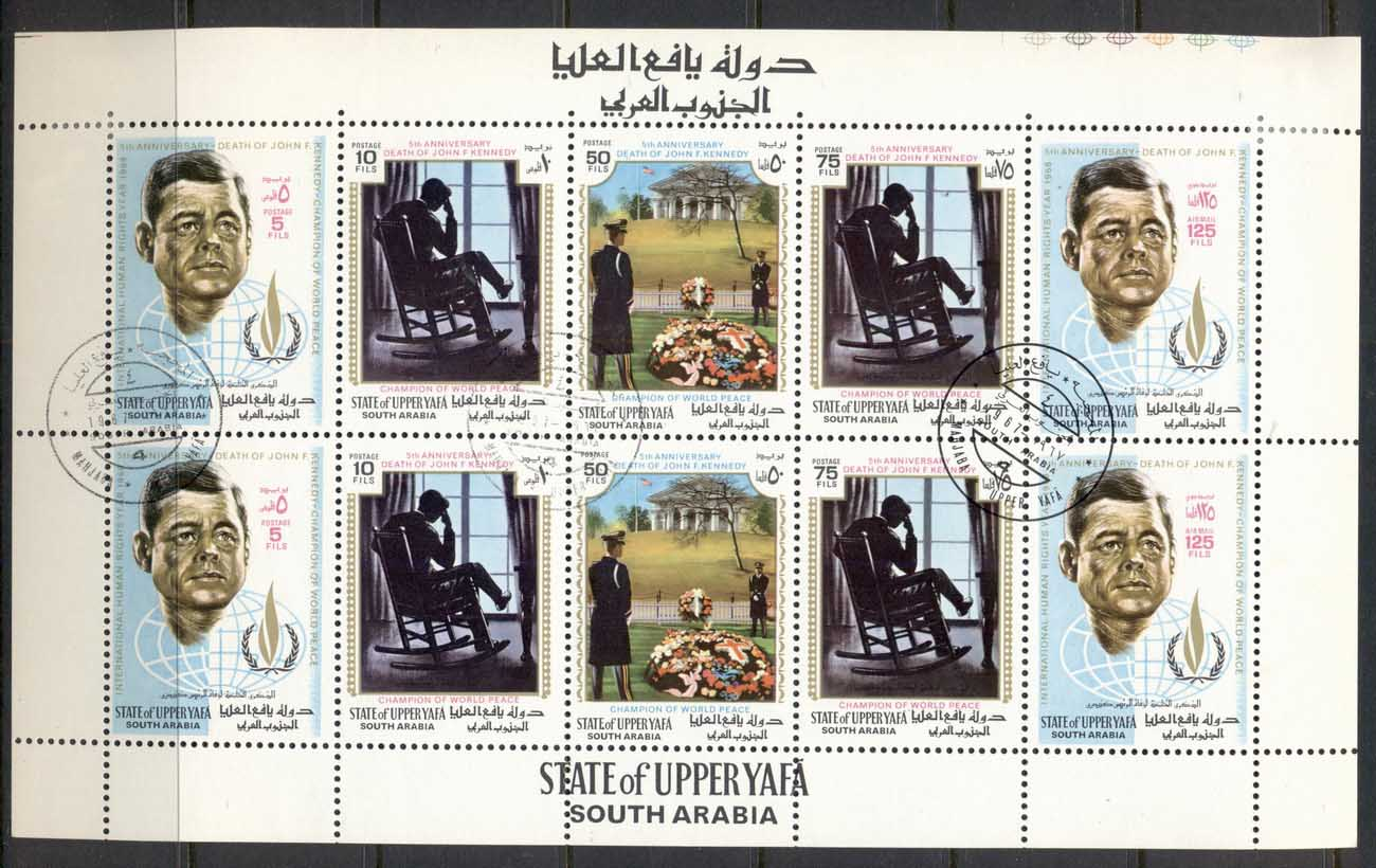 Aden State of Upper Yaffa 1967 Mi#44-48 International Year of Human Rights, JFK Kennedy sheetlet CTO
